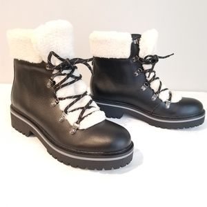 Tommy Hilfiger Womens 8.5 Black Sherpa Boot 8.5
